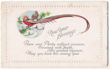 VINTAGE NEW YEAR POSTCARD TWO RED YELLOW GREEN COLORFUL BIRDS LONG TAIL FEATHERS