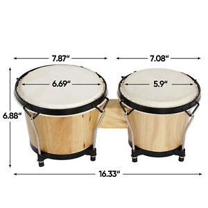 """BONGOS 7 & 8"""" inch SET Natural Light Wood Dual Drums for Kids Adults Beginners"""