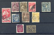 PORTUGAL 10 STAMPS WITH PERFINS --F/VF