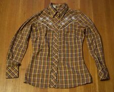 Vtg Miller Western Embroidered Pearl Snap Shirt Women's XS Plaid Rockabilly
