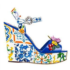 Dolce & Gabbana Majolica Platform Sandals Bianca With Kriatllen Blue White 09637