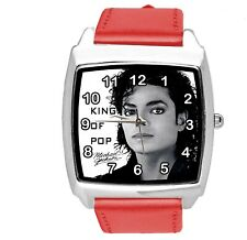 MICHAEL JACKSON MJ MUSIC POP STAR SINGER RED LEATHER SQUARE CD DVD WATCH E2