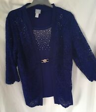 NEW royal Blue Beaded Top & Fitted Lace Long Sleeve Occasions Top Size 18