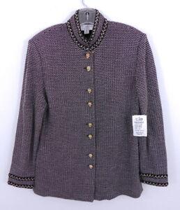 ST. John Santa Knit Chenille Trim Woven New Oak Blazer NWT $920 sz 10