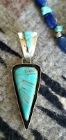 Navajo Turquoise Inlaid Pendant Sterling Silver by EB, Large Bale