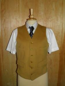 """Vintage Gents Foxley Pure New Wool Mustard Hunt/Show Waistcoat To Fit 38"""" Chest"""