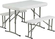 Flash Furniture Plastic Folding Table & Benches DAD-YCZ-103-GG Table NEW