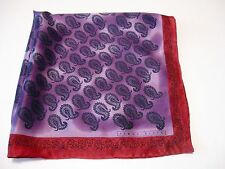 PERRY ELLIS SILK SCARF LAVENDER PURPLE & CHERRY RED WITH BLACK PAISLEY  FAB!