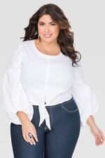 5f3b5660c418a ASHLEY STEWART 18 WHITE COTTON CROPPED TIE FRONT SHIRT bishop sleeve top  blouse