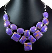 583ct Natural Semi Precious Purple Turquoise Gemstone Silver Plated Necklace Set