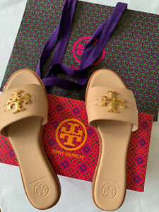 Tory Burch Everly Slide Goan Sand Leather Sandals Women Size 8.5 In Box Gift Bag