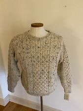 River View 100% Wool Sweater Ireland Mens Medium Ivory Flecked