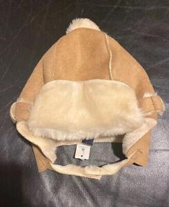 Baby Gap Nwt 6-12 Months 6M 12M Beige Faux Suede Fur Lined Trapper Hat Pom Pom