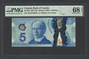 Canada 5 Dollars 2013 BC-69c Uncirculated Graded 68 Top Pop