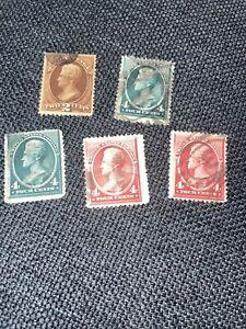 5-US 1888 Scott # 215 Andrew Jackson, carmine 2&4 Cents STAMPs