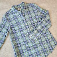 Vineyard Vines Shirt Size 6 Womens Half Button Down Plaid Collared Blue Green