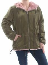 Sanctuary Womens Snug Faux Fur Reversible Hooded Parka (Green/Pink, Small)