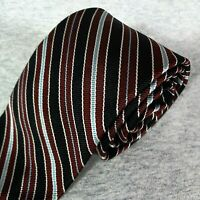 Vintage 100% Silk Tie BLACK w/ Silver Blue Brown REGIMENTAL STRIPES Repp SKINNY
