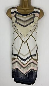 Max Shop Dress Ivory Art Deco Design Shift Silk Sleeveless UK 10