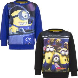 New Jumper Sweatshirt Boys Minions Long Sleeves Grey Blue 98 104 116 128 #55