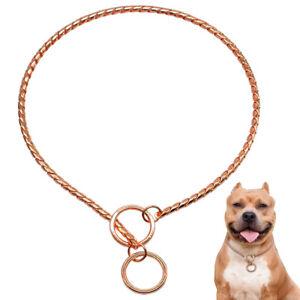 Rose Gold Choke Chain Dog Collars Snake Pet P Collar for Training Pitbull S-2XL