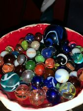 Lot Of 25 Glass Marbles Assorted Colors Peewee Sized