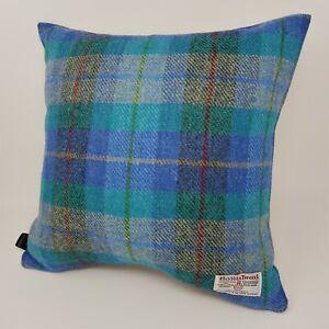 BLUE Check HARRIS TWEED wool Coastal Tartan Ensa Cushion Cover