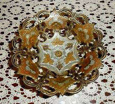 Beautiful Vintage Reticulated Cloisonne' On Brass Pedestal Center Dish