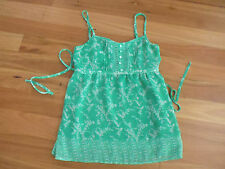 LADIES CUTE GREEN FLORAL LINED POLYESTER SLEEVELESS TOP BY JAY JAYS SIZE XS 8/10
