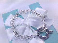 NEW Tiffany & Co. Round Link Chain Toggle Charm Bracelet Medium Silver 925