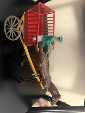 Vintage Wolverine Molded Plastic Wind-Up Buggy Horse And Driver
