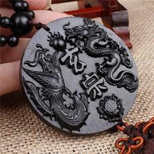Ebony Wood Carving Chinese Fengshui Dragon Phoenix Sculpture Beads Car Pendant
