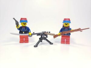 Custom Lego WWI French Soldiers Duo Early War With Mounted Machine Gun