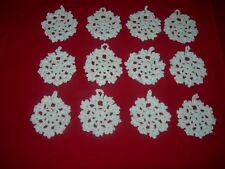 24 SNOWFLAKES LOT CHRISTMAS CROCHET HANDMADE ACRYLIC YARN WITH SILVER THREAD
