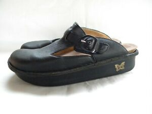 Alegria ALG-601 Black Leather Mary Jane Clogs Slip On Mules Size 42
