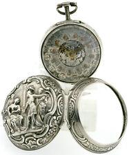 Shearwood Doppel Gehäuse Repousse Spindel Taschenuhr mit Champleve Blatt um~1750
