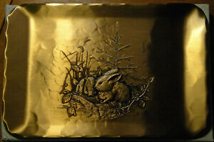 Hand-made 6 x 9-inch bronze plate: Rabbits by Natale, Leesburg, Pa.