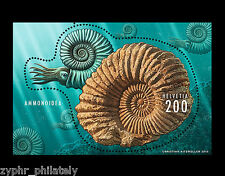 "Switzerland - ""FOSSILS ~ AMMONITE"" Odd - Shaped, Embossed MNH MS 2015 !"