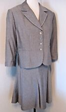 Tahari Jacket and Flared Skirt Suit Size 16 Petite Gray Pinstripe Lined #1221 H