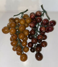 Vintage Italian Alabaster Stone Fruit Red and Orange Grapes Clusters