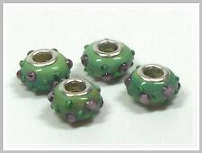 4 Lampwork Modulperlen Grosslochperlen grün mit Rosen Perlen