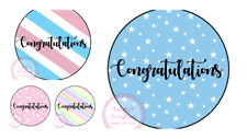 Congratulations Stickers Pastel Pink Blue Stripe School Exams New Job Label Seal