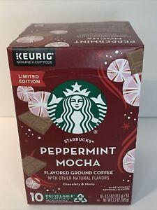 Starbucks Peppermint Mocha K-Cup Coffee Pods Keurig 10 ct. Flavor Mint EXP 05/21