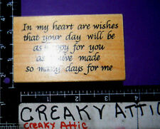 IN MY HEART WISHES YOUR DAY AS HAPPY FOR RUBBER STAMP DARCIES COUNTRY FOLK J1188