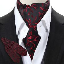New Factory Men's Silk ASCOT CRAVAT TIE Self Tied Ties Necktie Black Wine Floral