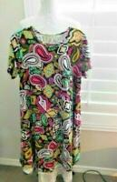 Lularoe Size M Medium Solid Paisley Short Sleeve STRETCH Knit Dress