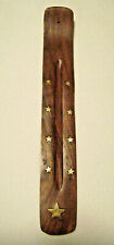 Wood Incense Stick Holder Ash Catcher Inlaid Brass Stars