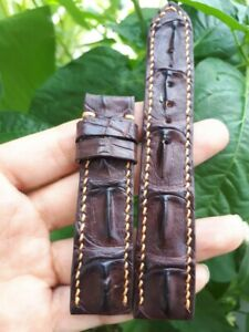 BROWN HORNBACK GENUINE ALLIGATOR CROCODILE LEATHER WATCH STRAP BAND 20MM/18MM