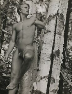 1989 Vintage BRUCE WEBER Outdoor Male Nude Birch Tree Adirondack Park Photo Art
