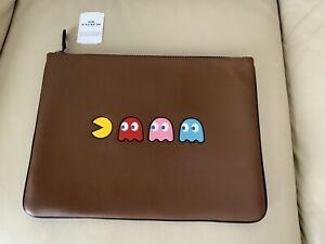 Coach Tech Pacman Portfolio Saddle Brown Leather Laptop Sleeve Case F73648W/Tag